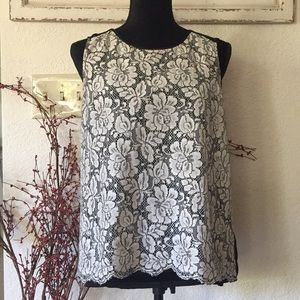Calvin Klein Sleeveless Lace-Front Top - Size: L